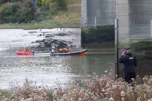 day two of the search for a man who plunged 100ft from medway bridge concludes as the night draws in