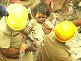 girl, 3, pulled out alive from under collapsed building