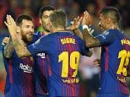 Barcelona 3-1 Olympiacos: Lionel Messi bags 100th goal