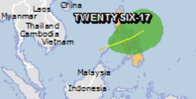 Green alert for tropical cyclone TWENTYSIX-17. Population affected by Category 1 (120 km/h) wind speeds or higher is 0.