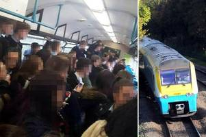 parents' anger as children pictured 'crammed' onto trains on their way home from school