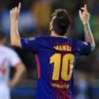 Lionel Messi reaches European goals century as Barcelona see off Olympiacos