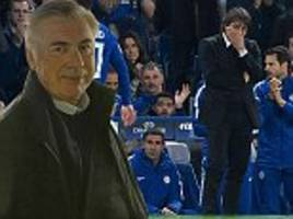Carlo Ancelotti watches former sides Chelsea and Roma