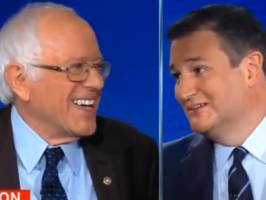 'Don't interrupt me while I'm interrupting you!': Ted Cruz and Bernie Sanders ribbed each other nonstop at CNN's debate on tax reform
