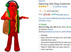 snapchat is selling an $80 dancing hot dog costume on amazon (snap)