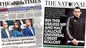 Scotland's papers: Christmas surgery cancelled