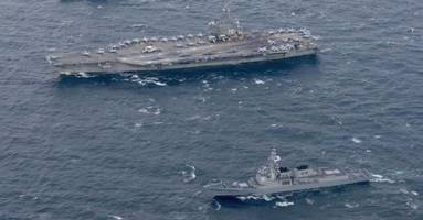 uss ronald reagan joins south korean navy for latest round of 'war games'