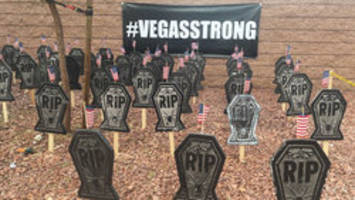 Tombstone 'tribute' display of Vegas shooting victims draws mixed emotions