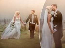 hurricane ophelia: couple under orange sky on wedding day
