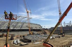 WATCH: LAFC's Banc of California Stadium taking shape at Expo Park