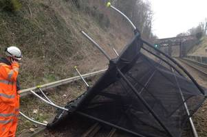 storm brian: tie your trampoline down as network rail warns of garden furniture blowing on to train tracks after weather bomb goes off in atlantic