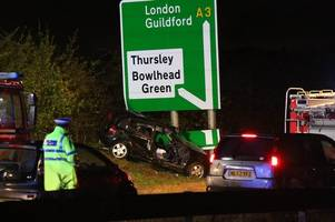 a3 thursley crash: woman seriously hurt after being cut from car following serious collision northbound near hindhead tunnel