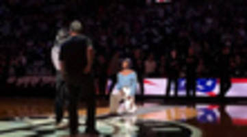 National Anthem Singer At Nets Home Opener Takes A Knee At End Of Song