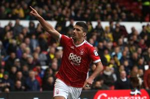 eric lichaj runs the length of the pitch to celebrate goal in nottingham forest win