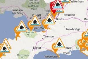 flood warnings issued for somerset as storm brian causes high tides, large waves and strong winds
