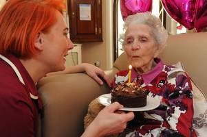 touching moment edith blows out the candles on her 104th birthday cake