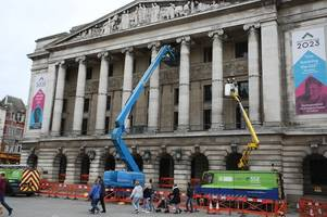 Work begins to put Christmas lights up in Old Market Square (yes, already)