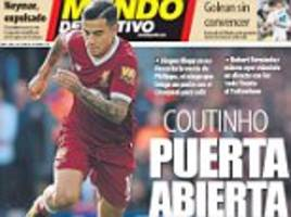 liverpool open door for philippe coutinho barcelona sale