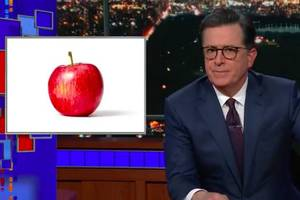 colbert fixes cnn's 'apple' ad: 'orange you ready to im-peach?' (video)