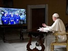 pope francis speaks to astronauts on board the iss