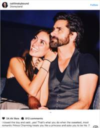 john stamos proposes with a platinum engagement ring