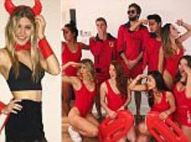 eugenie bouchard dons devil outfit for halloween party