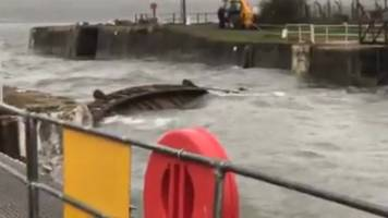 ophelia: crane to lift storm-wrecked milford lock gate