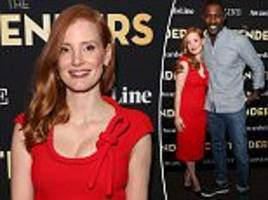 jessica chastain looks sensational in sultry red frock