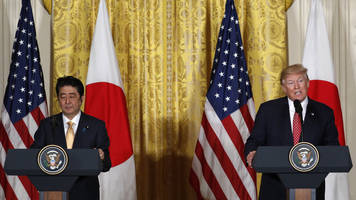 trump says trade with japan is not fair and not open - awkward moments ensue