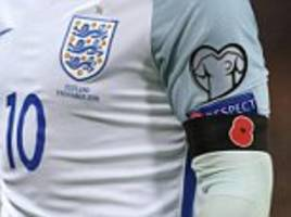 England and Germany players to wear poppy armbands