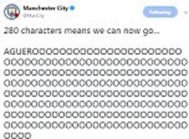 man city use twitter 280 characters for sergio aguero goal