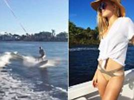 eugenie bouchard takes fall while trying wakeboarding