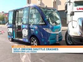 A self-driving bus in Las Vegas got in a crash on its very first day