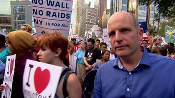 Glenn Campbell reports from an anti-Trump rally in New York