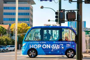 A self-driving shuttle in Las Vegas got into an accident on its first day of service