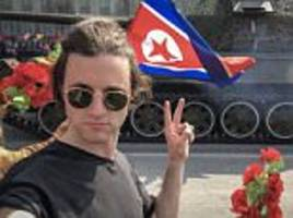 British tourist gives North Korean tank two fingers up