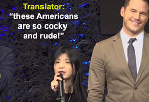 chris pratt trolls a translator during a press conference