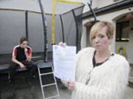 mother faces eviction over trampoline row