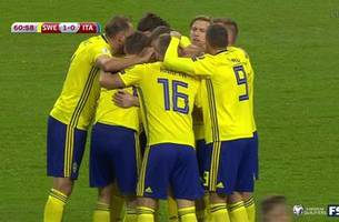 Sweden's Jakob Johansson scores against Italy at UEFA World Cup Qualifying