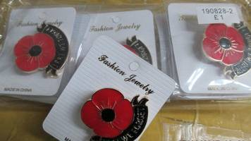 Fake poppy jewellery seized before Remembrance day