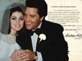 elvis and priscilla presley's divorce paper up for auction