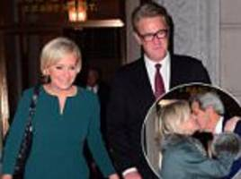 joe scarborough and mika brzezinksi party with fake trump