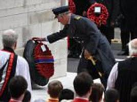 remembrance sunday: prince charles lays cenotaph wreath
