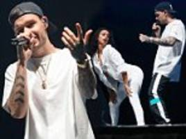 Liam Payne gyrates with female dancers at Free Radio Live