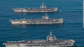 for the first time in a decade, us puts on 3 carrier show of force next to north korea