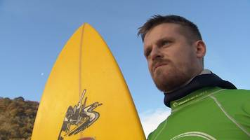 Lost-at-sea surfer Matthew Bryce goes returns to water for first time