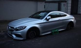 Wheel Thieves in Denmark Damage C63 Coupe With Plastic Crates