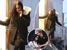 Meghan Markle is pictured on the set of Suits in Canada