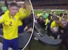 Sweden players mob TV set in manic celebrations
