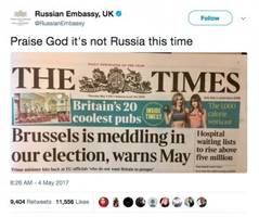 10 times official Russian government accounts have trolled the US and UK on Twitter